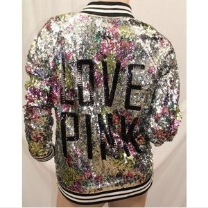 VS PINK sequin jacket floral multicolor